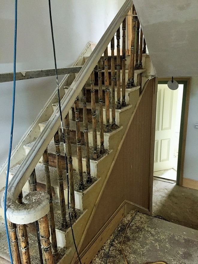 Before photo of a period staircase we restored in a Georgian house in Ranelagh by Impressions Painters and Decorators