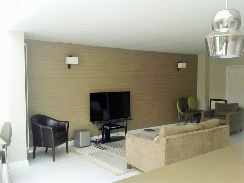 Example of a wallpapered featured wall in by Impressions Painting and Decorating in Killiney
