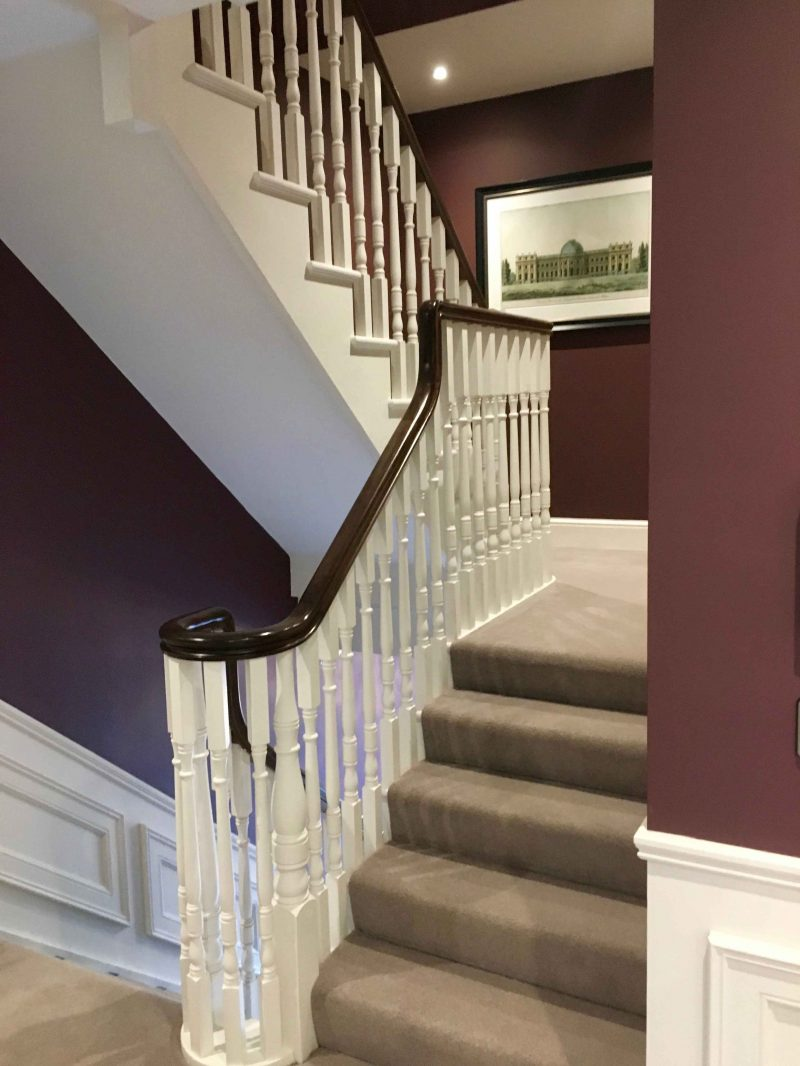 Staircase in a show house painted by Impressions Painters and Decorators in Dun Laoghaire