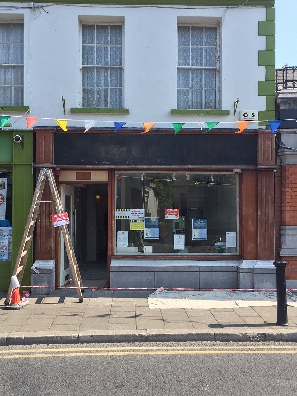 How to paint RAL colours and match RAL colours - before painting a shop in Dalkey by Impressions Painting and Decorating