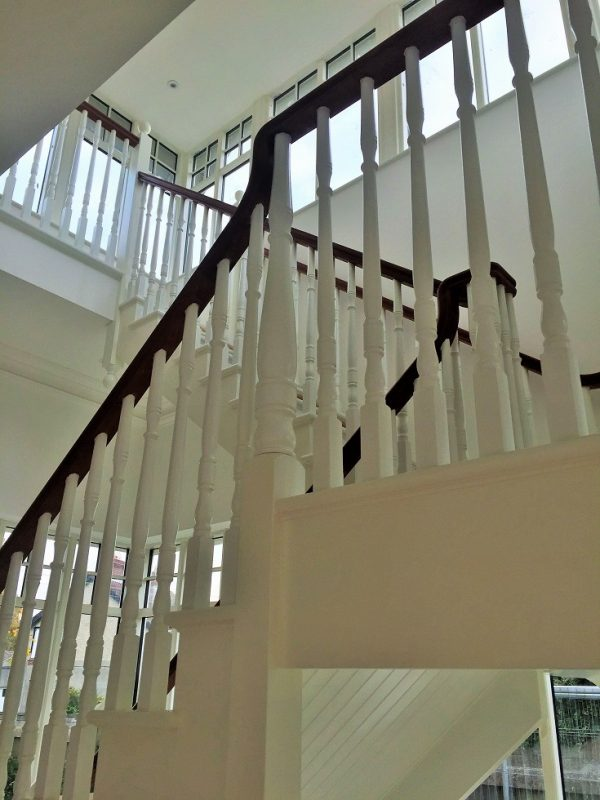 After photo - how to paint a newly built staircase - sand and paint with undercoat