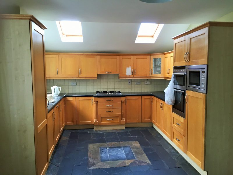 How to paint a laminated surfaces - before photo of a laminated kitchen we painted in Sandycove by Impressions Painting and Decorating