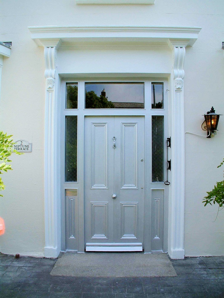 A Georgian front door painted and restored in Sandycove by expert painters Impressions Painters and Decorators