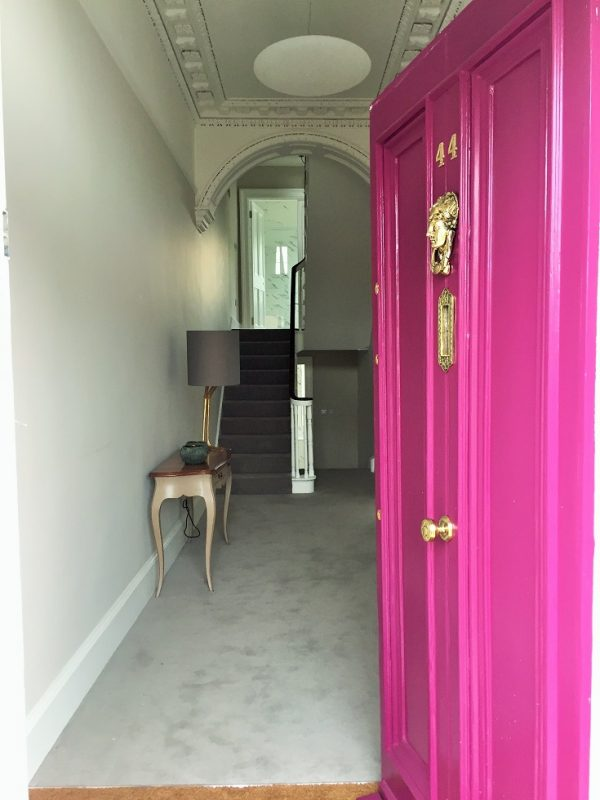 A hall, stairs, landing and period door in Ranelagh after being painted by Impressions Painting and Decorators
