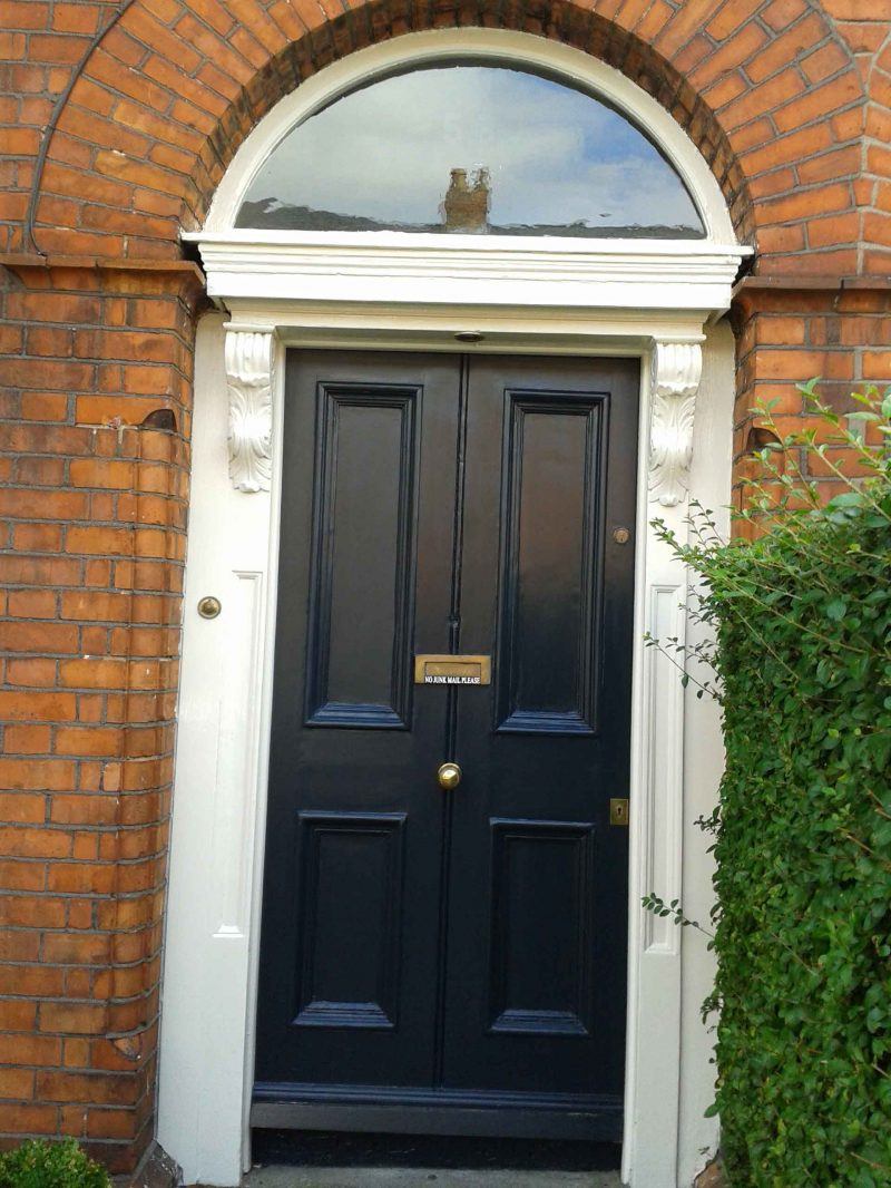 A terraced Georgian door restored in Ranelagh by Impressions Painters and Decorators