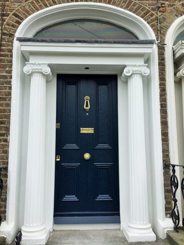 Fully restored period door and surround and brasses by period house painters Impressions Painting and Decorating