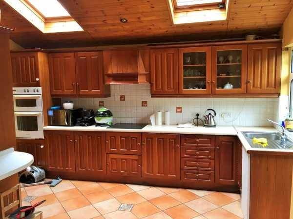 Kitchen before being painted by Impressions Painting and Decorating in Dundrum