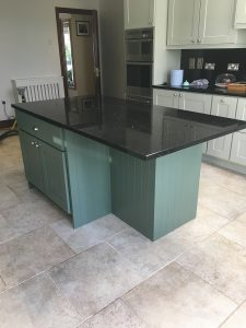 After photo of a hand-painted island unit in a kitchen in Co. Meath by Impressions Painting and Decorating