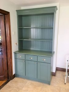 After photo of a hand-painted shelving unit in a kitchen in Co. Meath by Impressions Painting and Decorating