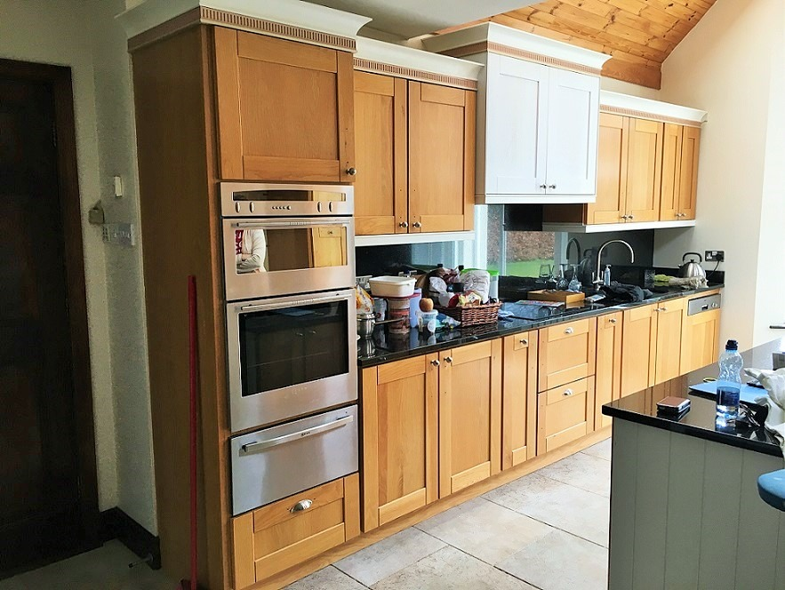 Before photo of a hand-painted kitchen in Co. Meath by Impressions Painting and Decorating