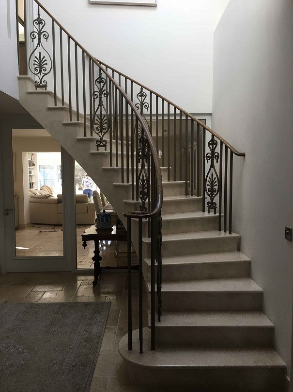 French polished Oak period staircase restoration on a marble staircase in Dalkey by period house restoration