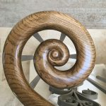 French polished Oak staircase handrail by Impressions Painting and Decorating on a marble staircase in Dalkey