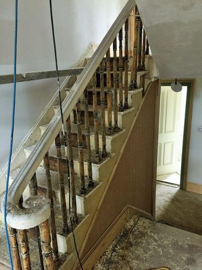 Before photo of a period staircase after we had completed proper painting preparation by Impressions Painters and Decorators