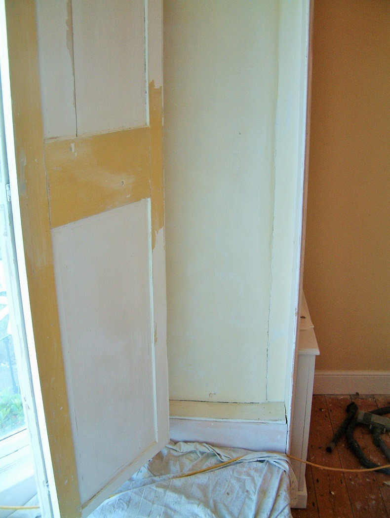 Before photo of a period window and shutter after we had completed proper painting preparation by Impressions Painters and Decorators