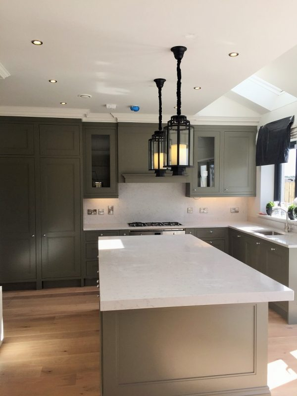 Bespoke hand-painted kitchen in a showhouse in Dublin by Impressions Painting and Decorating Kitchen Painters