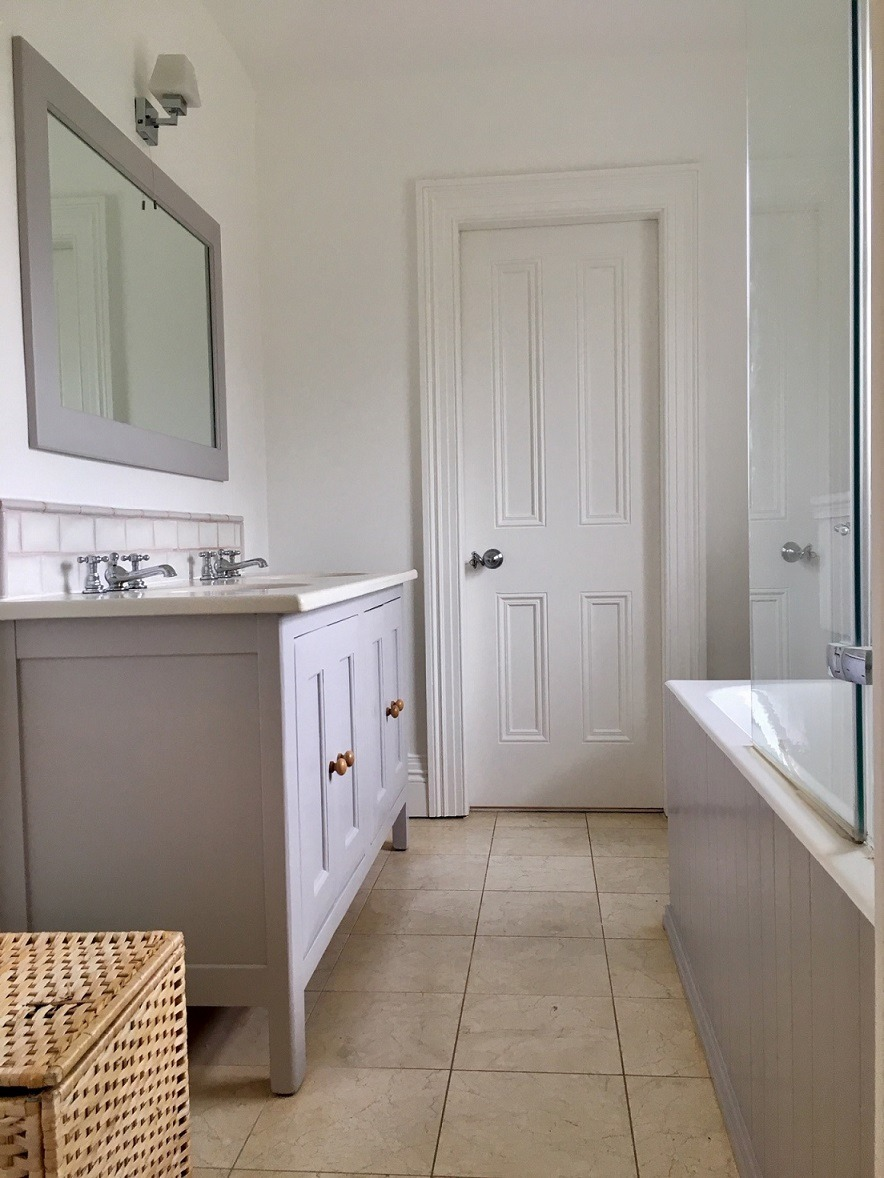 Bespoke painted bathroom furniture and bathroom units by professional bathroom painters in Dublin Impressions Painters and Decorators