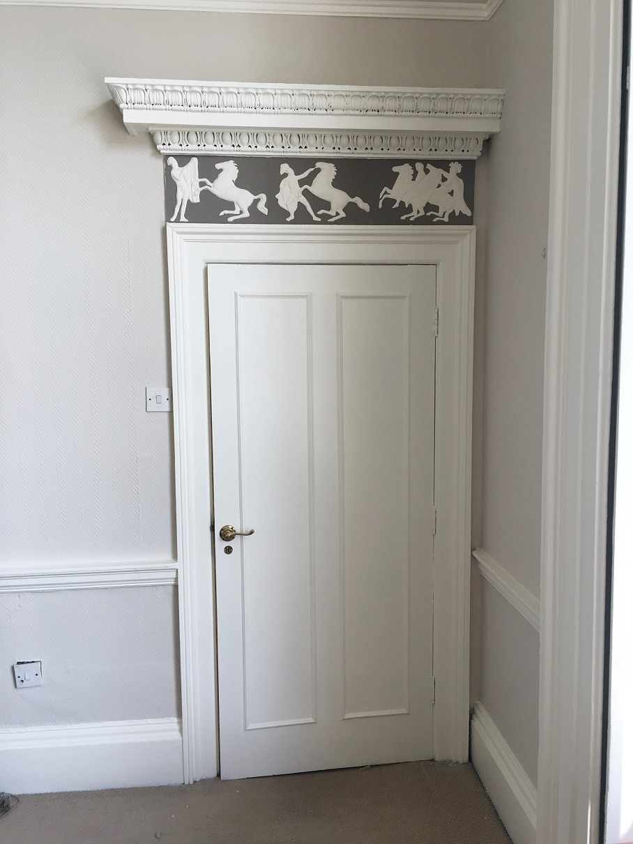 Cornice restoration and painting in Dublin by professional period house painters and restorers and decorators Impressions Painting and Decorating