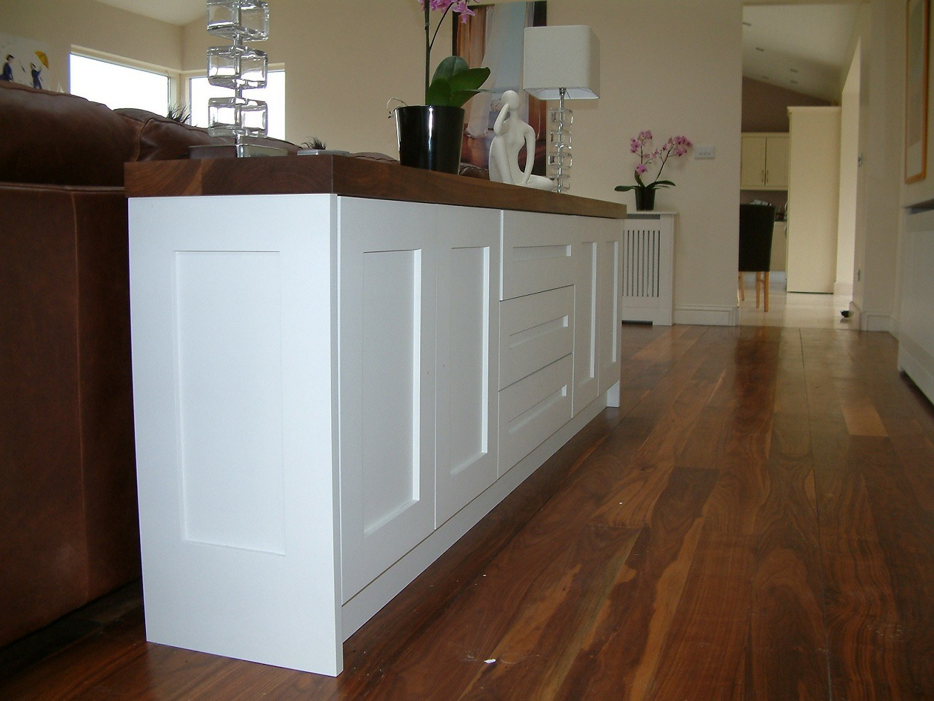 Hand painting living room units by Impressions Painting and Decorating in Dublin