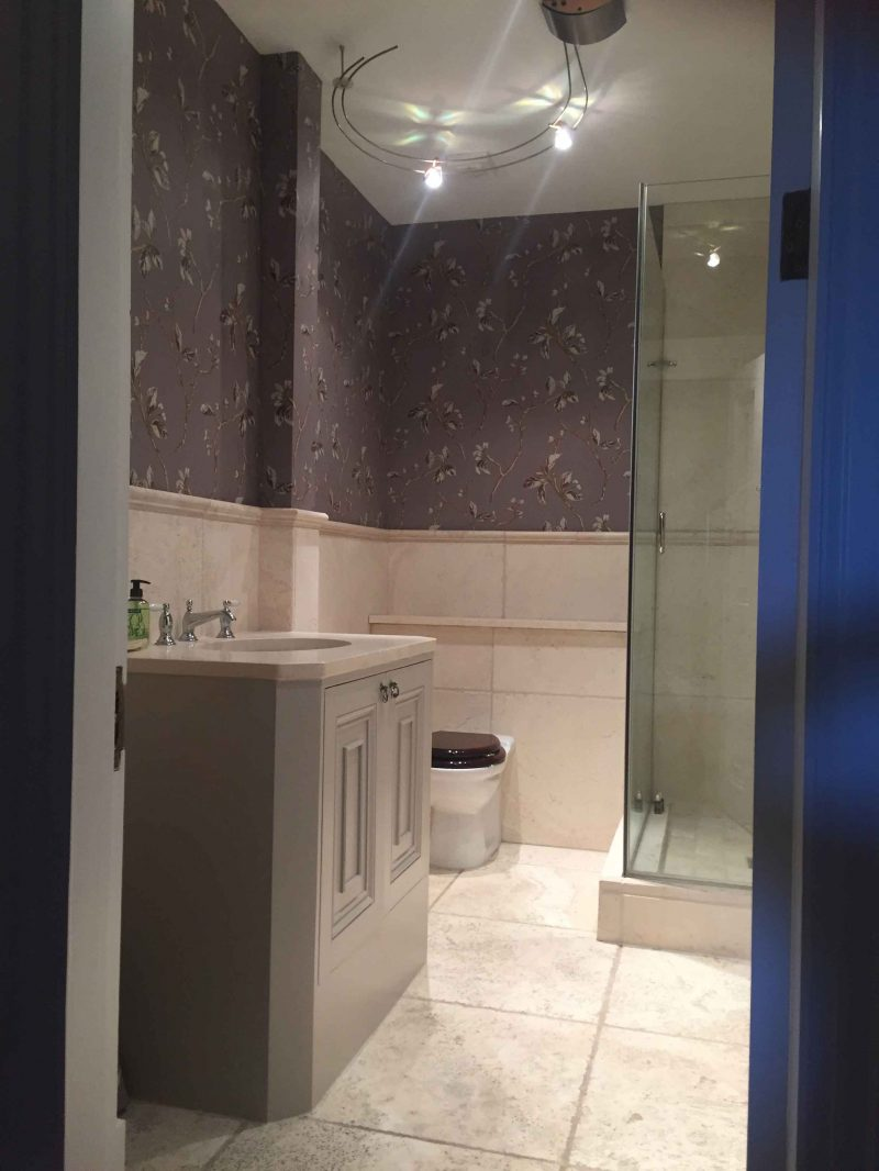 Wallpaper toilet and shower by wallpapering experts Impressions Painters and Decorators in Dublin