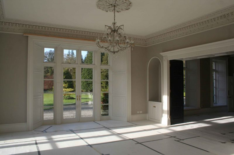 Cornicing and ceiling restoration and painting in a period house by Impressions Painting and Decorating in Enniskerry Co Wicklow