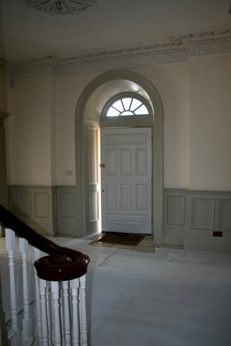 Inside of a painted period front door and hallway by Impressions Painting and Decorating in Enniskerry