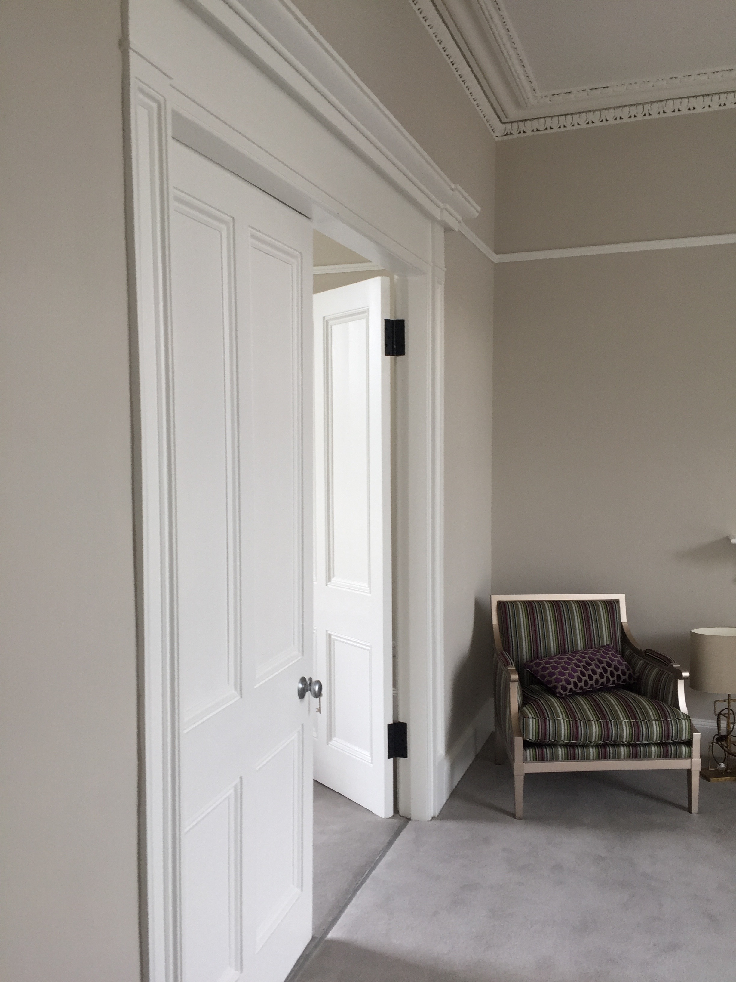 Interior period door in Ranelagh painting and restoration by Impressions Painters and Decorators in Dublin