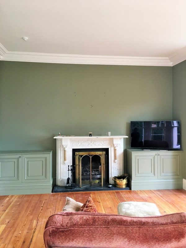 Painted and decorated living room in a period house painted by Impressions Painters and Decorators in Killiney