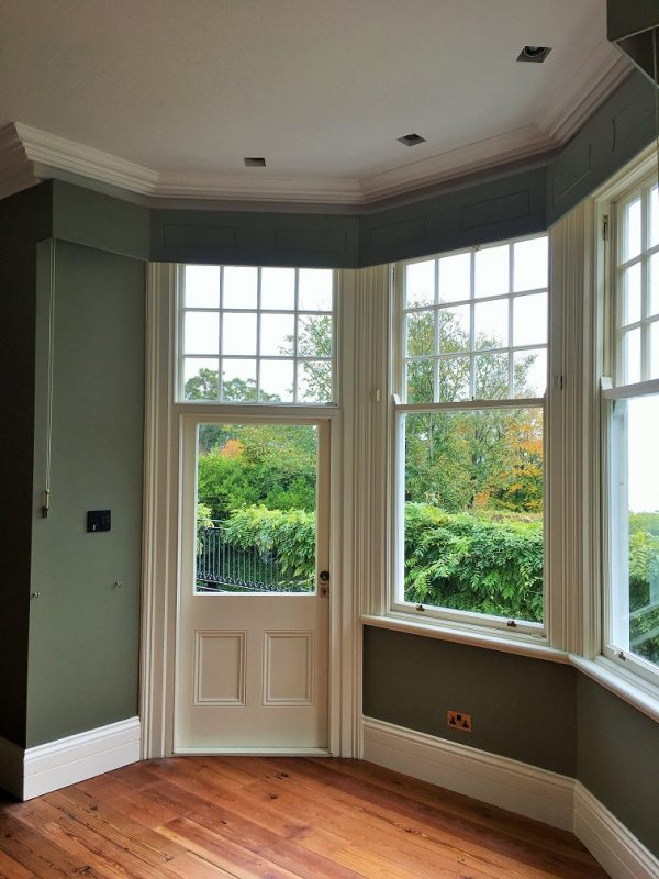 Painted and decorated period living room and windows painted by Impressions Painters and Decorators in Killiney